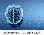 x ray human brain. 3d... | Shutterstock . vector #1048454224