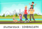 Happy family walks around the city park. Father, mother, son and daughter together outdoors. Vector illustration in cartoon style | Shutterstock vector #1048461694