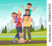 happy family in the park.... | Shutterstock .eps vector #1048461943