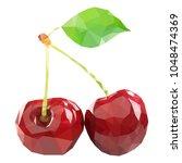 polygonal cherry in vector  low ... | Shutterstock .eps vector #1048474369