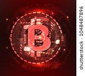 abstract technology bitcoin... | Shutterstock .eps vector #1048487896
