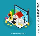 isometric internet banking... | Shutterstock .eps vector #1048489903