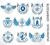 set of vector vintage emblems... | Shutterstock .eps vector #1048492078