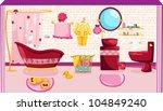 illustration of pink bathroom | Shutterstock .eps vector #104849240