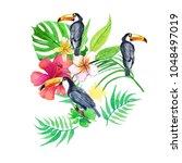 watercolor floral composition.... | Shutterstock . vector #1048497019