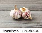 garlic bulbs  purple cloves... | Shutterstock . vector #1048500658