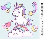 great white unicorn on rainbow  | Shutterstock .eps vector #1048502080