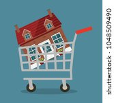 house in a cart. flat vector... | Shutterstock .eps vector #1048509490