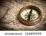 Old Vintage Retro Compass On...