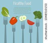 vegetables on forks. healthy... | Shutterstock .eps vector #1048510153