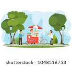 people buy and eat hot dogs in... | Shutterstock .eps vector #1048516753