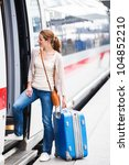pretty young woman boarding a... | Shutterstock . vector #104852210