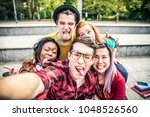 multi ethnic group of teenagers ... | Shutterstock . vector #1048526560
