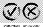 painted black symbolic ok and x ... | Shutterstock .eps vector #1048529080
