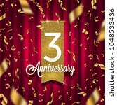 three years anniversary golden... | Shutterstock .eps vector #1048533436