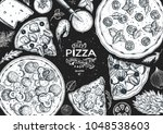 italian pizza and ingredients... | Shutterstock .eps vector #1048538603