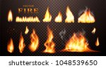 realistic flame  vector 3d fire ... | Shutterstock .eps vector #1048539650