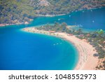 aerial view of blue lagoon in... | Shutterstock . vector #1048552973