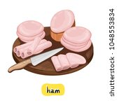 ham on wooden cutting board... | Shutterstock .eps vector #1048553834