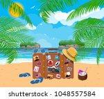 vintage old travel suitcase on... | Shutterstock .eps vector #1048557584