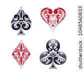 set of playing card suits.... | Shutterstock .eps vector #1048560833