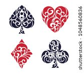 set of playing card suits.... | Shutterstock .eps vector #1048560836