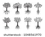 set black trees with leaves and ... | Shutterstock . vector #1048561970