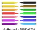 set of coloring markers with... | Shutterstock .eps vector #1048562906