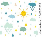 Stock vector seamless pattern with clouds sun and rain on a white background 1048569893