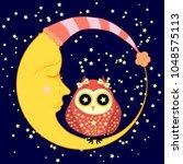 cute cartoon sleeping owl in... | Shutterstock . vector #1048575113