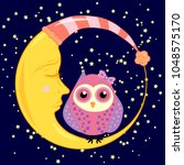 cute cartoon sleeping owl in... | Shutterstock . vector #1048575170