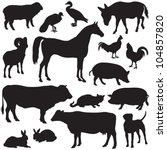 Stock vector farm animals collection vector silhouette 104857820