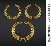 vector gold laurel wreath set.   Shutterstock .eps vector #1048578563