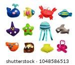 magnetic felt fishing game  ... | Shutterstock . vector #1048586513