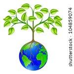 Conceptual illustration of a world globe tree - stock photo