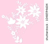white floral lace element on a... | Shutterstock .eps vector #1048594604