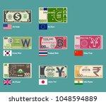 set of foreign banknote design...   Shutterstock .eps vector #1048594889