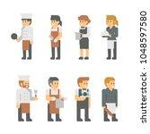 flat design restaurant staffs... | Shutterstock .eps vector #1048597580