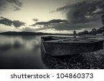 Fisherman Boat Black And White