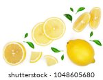 lemon and slices with leaf... | Shutterstock . vector #1048605680