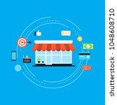 mobile commerce flat vector... | Shutterstock .eps vector #1048608710