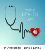 world health day. web banner.... | Shutterstock .eps vector #1048613468