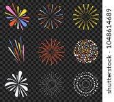 festive fireworks isolated on... | Shutterstock .eps vector #1048614689
