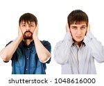 two guys cover the ears on the... | Shutterstock . vector #1048616000