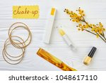makeup accessories and pussy... | Shutterstock . vector #1048617110