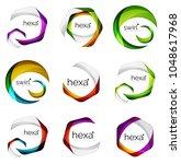 set of abstract hexagon logos ...