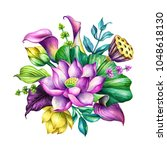 watercolor botanical... | Shutterstock . vector #1048618130
