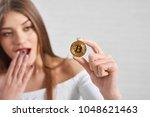 focus on popular golden... | Shutterstock . vector #1048621463