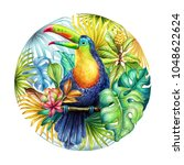 watercolor round botanical... | Shutterstock . vector #1048622624