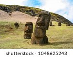 Moai on Rano Raraku on Easter Island